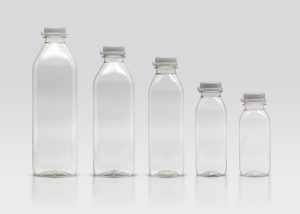 SQUARE ROUND JUICE BOTTLE FAMILY IN A ROW